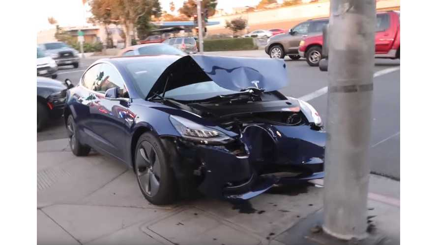Tesla Model 3 Collides Head On With A Big Pole