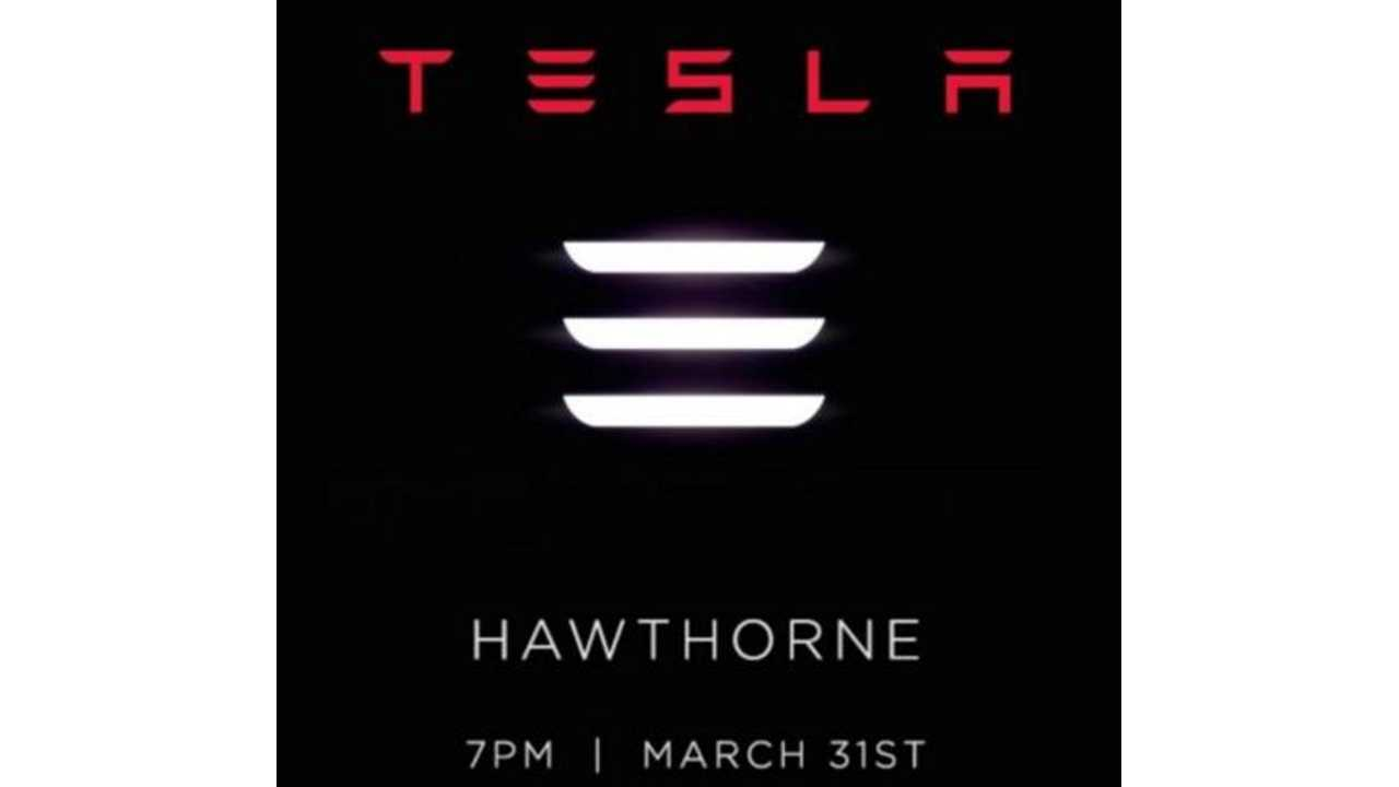 Tesla Model 3 Debut Invite For March 31st, Doors Open at 7PM (PT), Livestream Starts At 8:30Pm (PT)