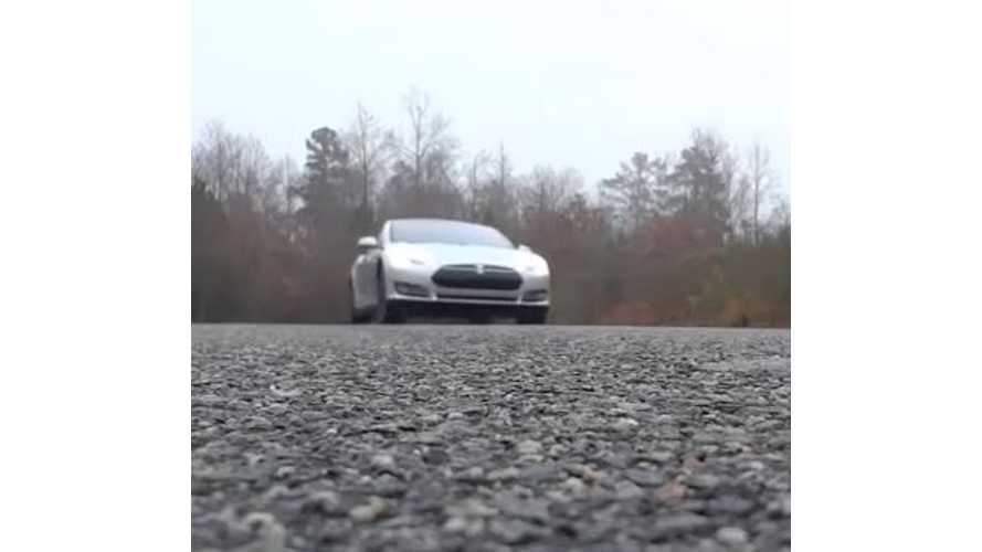 Tesla Model S P85D Acceleration On Damp Road - Video