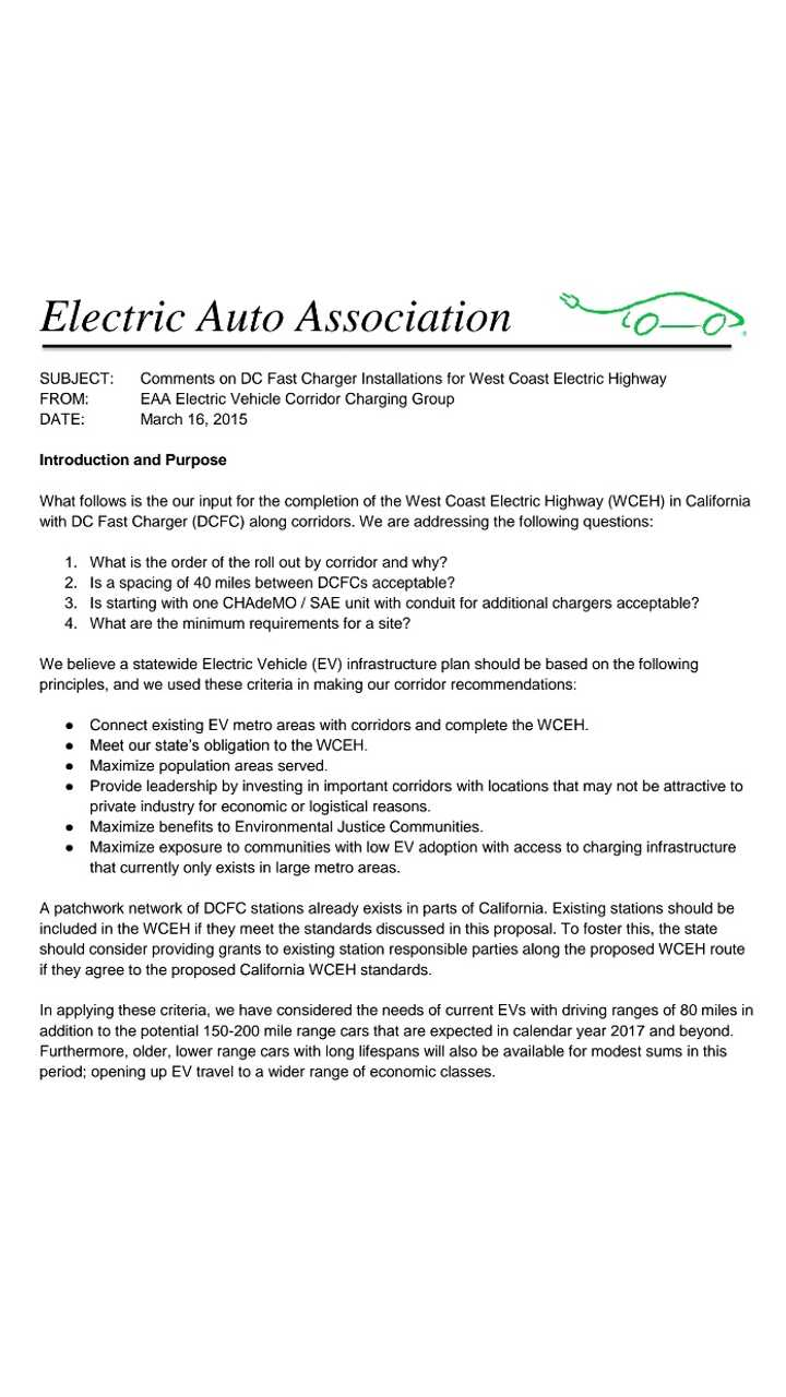Open Letter Re: West Coast Electric Highway - Page 1