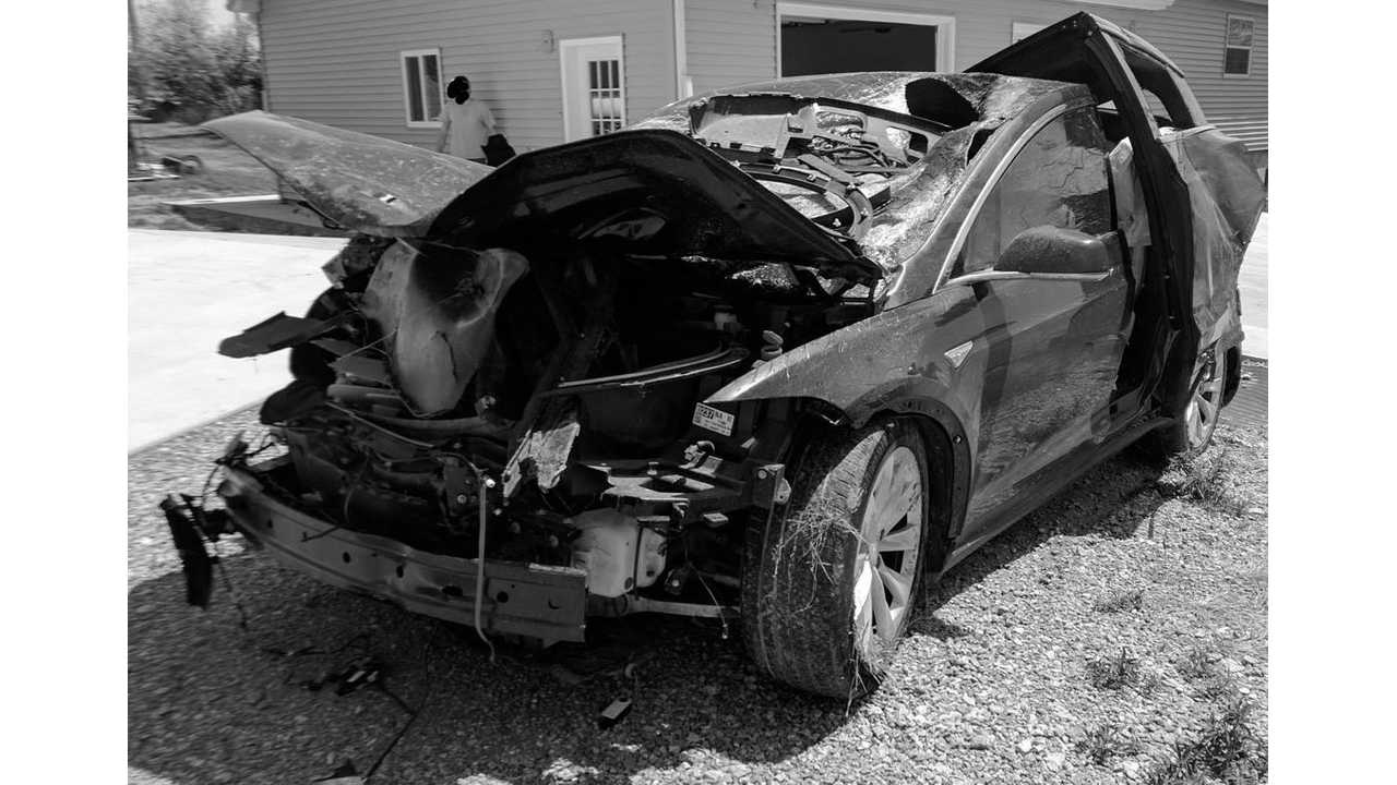 Why they test them - Tesla Model X after 70+ MPH impact with deer that everyone walked away from (via InsideEVs community member ScottF200)