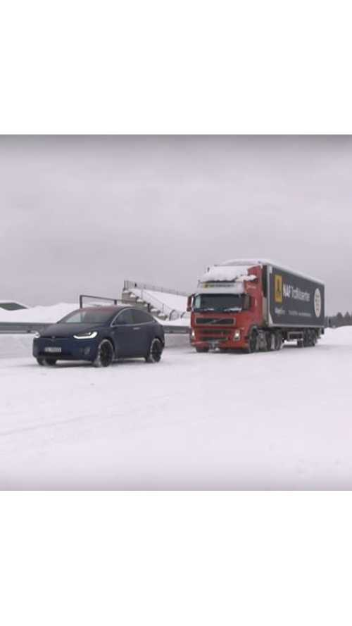 Tesla Model X Pulls A Semi, With Trailer Attached - Video