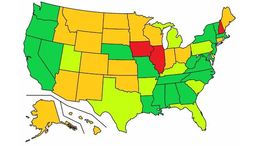 Map of US Helmet Laws