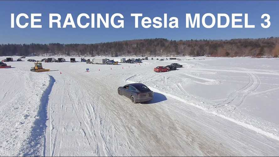 Watch Tesla Model 3 Go Ice Racing On Studded Tires: Video