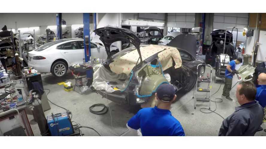 Watch Time-Lapse Video Of Tesla Model 3 Body Repair