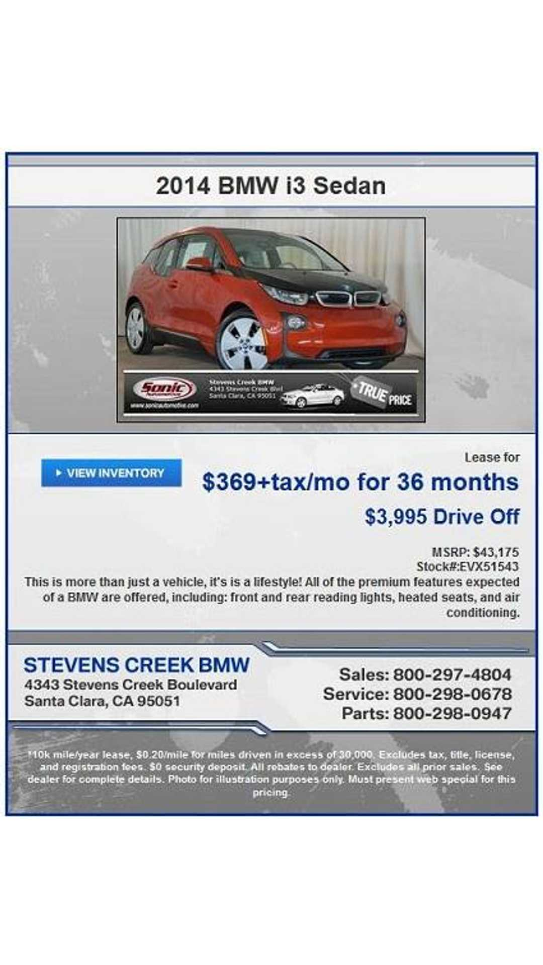 Stevens Creek Bmw Service >> Bmw I3 Lease Monthly Payments Finally At Reasonable Levels