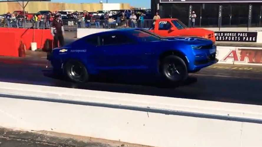 Watch Chevy Camaro eCopo Electric Pop Big Wheelie At Drag Strip