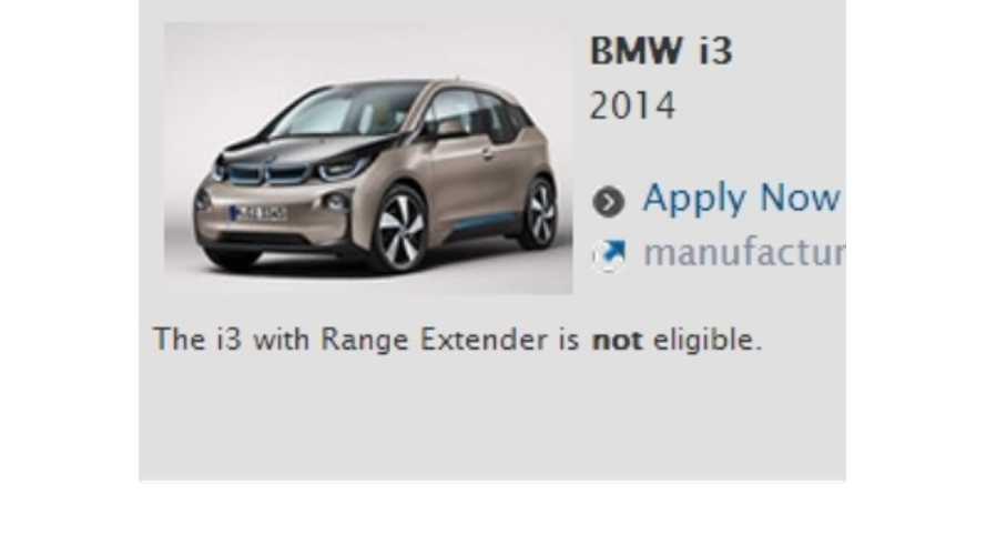 BMW i3 REx Does Not Currently Qualify For Clean Vehicle Rebate in California - UPDATE 2
