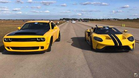 Dodge Demon Battles Ford GT In Epic Half-Mile Drag Race