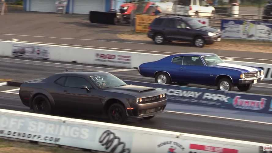 Watch Dodge Demon fight Chevy Chevelle at drag strip