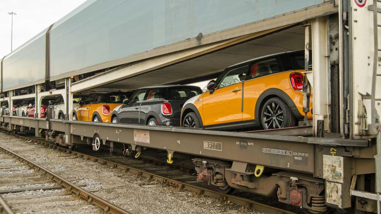 Train full of new Mini cars at Southampton ship docks