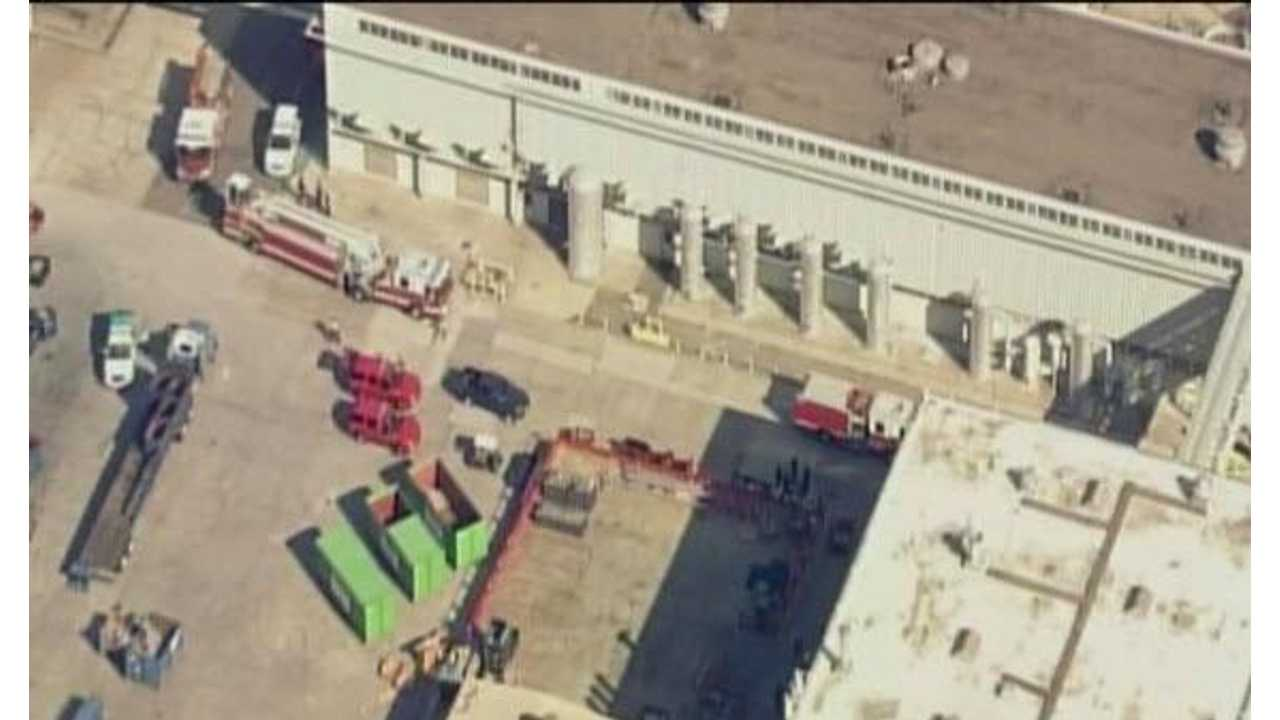 Breaking:  Fire Department And Ambulance At Tesla Factory In Fremont After Incident. Burn Injuries Treated - No Fire