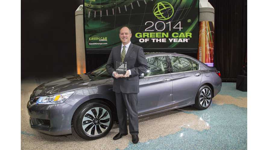 Honda Accord - Including PHEV Version - Somehow Grab 2014 Green Car of the Year Award