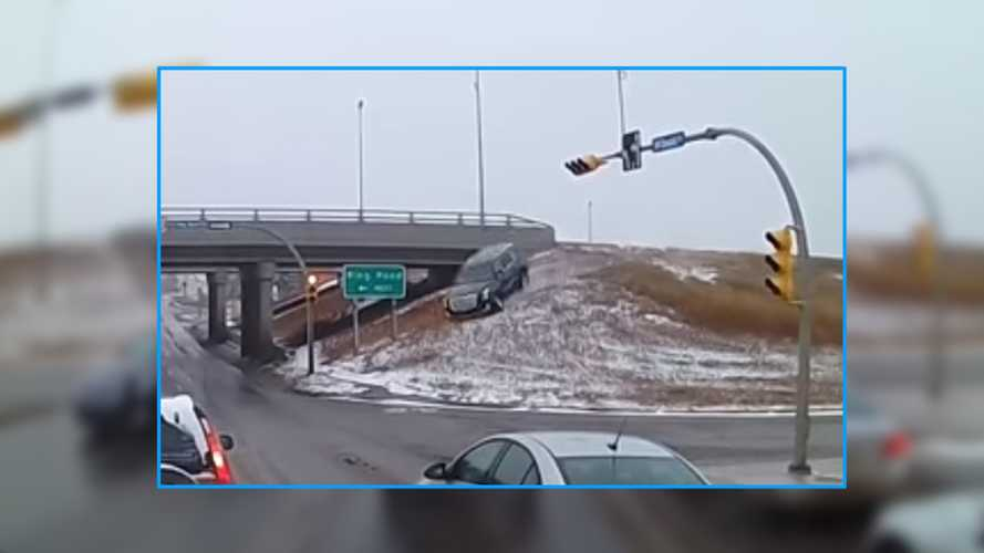 Cadillac Escalade Careens Off Embankment In Crazy Crash Video