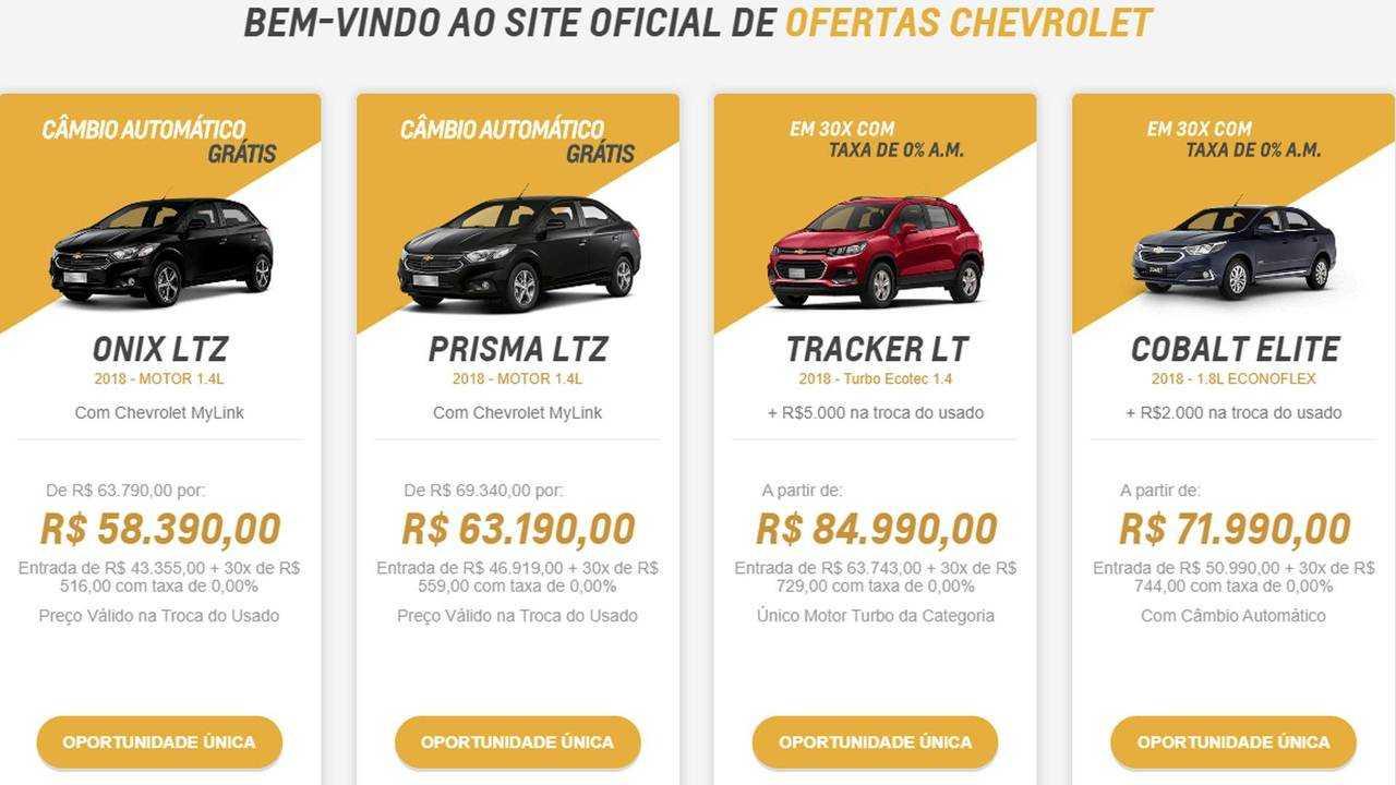 Taxa Zero - Chevrolet