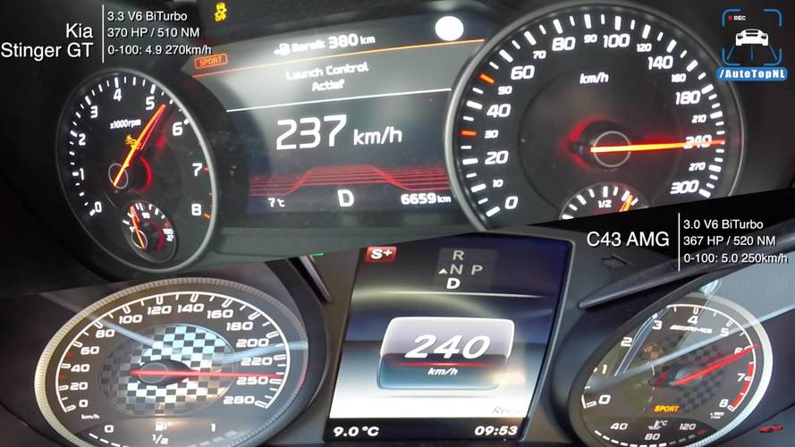 Mercedes-AMG C43 And Kia Stinger GT Duel In Acceleration Test
