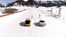Porsche 911S, GT2 RS Pulling Skiers On Frozen Lake