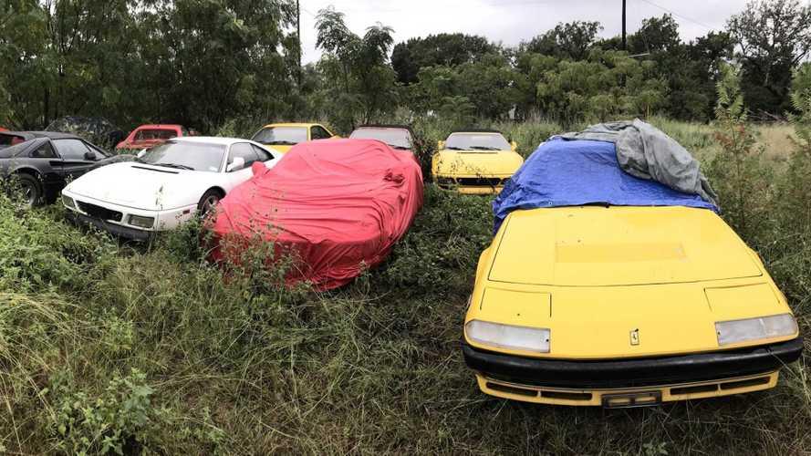 ¡Un cementerio de Ferrari en pleno campo! Simplemente increíble