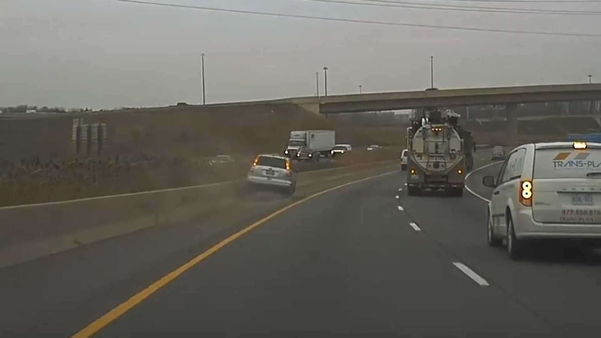 Caught On TeslaCam: Inattentive Driver Crashes Into Wall - Video