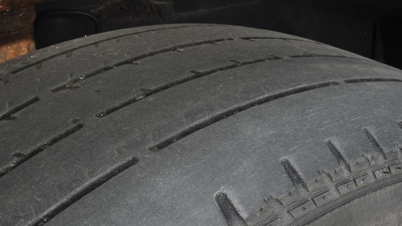 Bald tyre with very little tread remaining