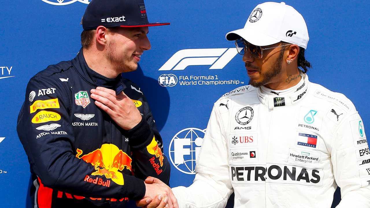 Pole Sitter Lewis Hamilton, Mercedes AMG F1, second place Max Verstappen, Red Bull Racing