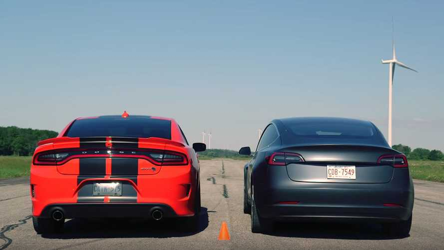 Dodge Charger Hellcat Fights Tesla Model 3 Performance In Drag Race