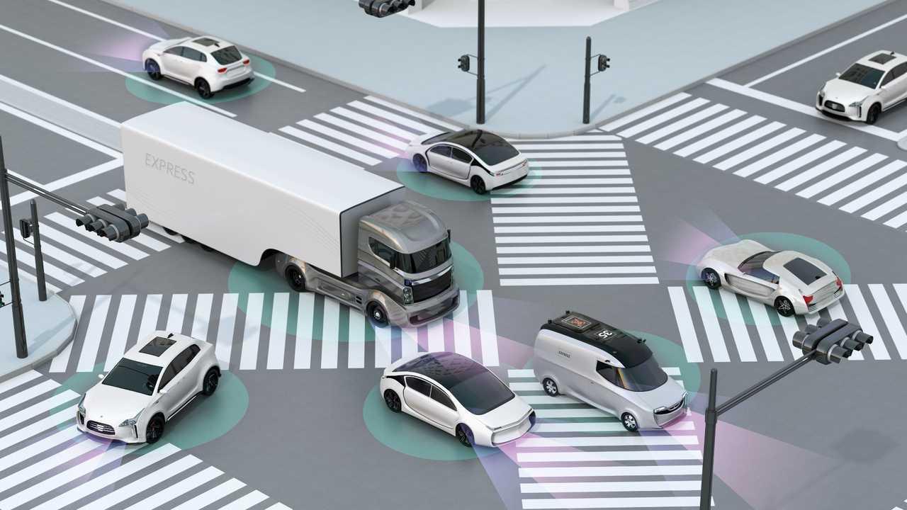 Crosswalk showing autonomous technology 3D rendering