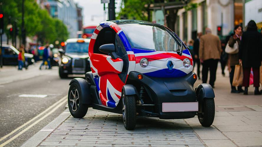 Renault Twizzy EV with Union Jack flag on Oxford Street