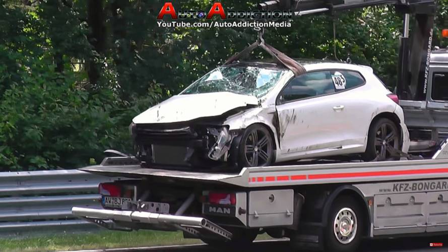See This VW Scirocco Crash Hard, Roll Three Times At The 'Ring