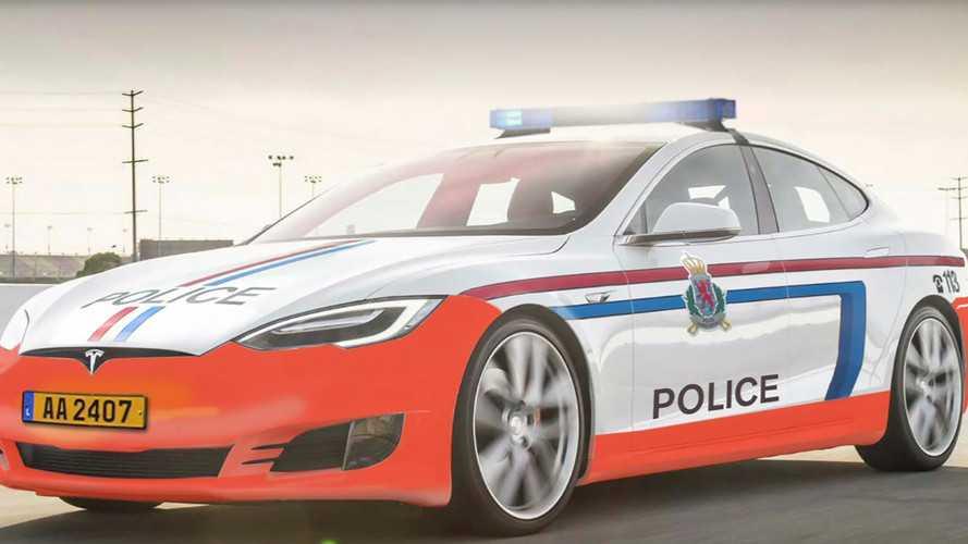 Egy Tesla Model S is érkezett a luxemburgi rendőrség járműparkjába