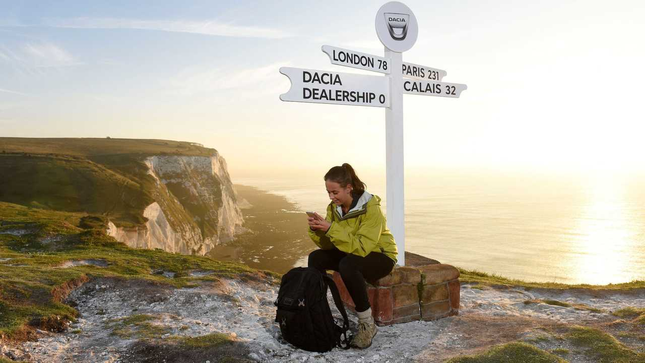 Dacia pop-up UK dealerships at White Cliffs of Dover