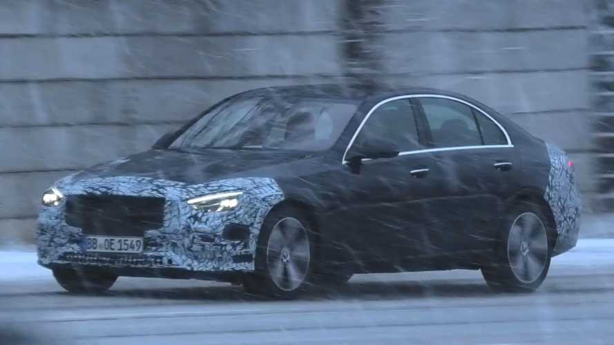2022 Mercedes C-Class spied finishing up testing in heavy snow