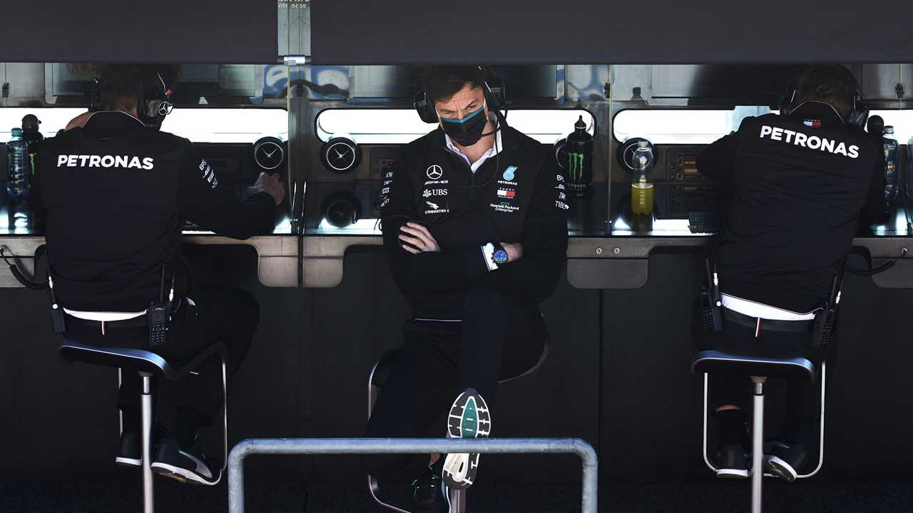 Toto Wolff, Executive Director (Business), Mercedes AMG, on the pit wall