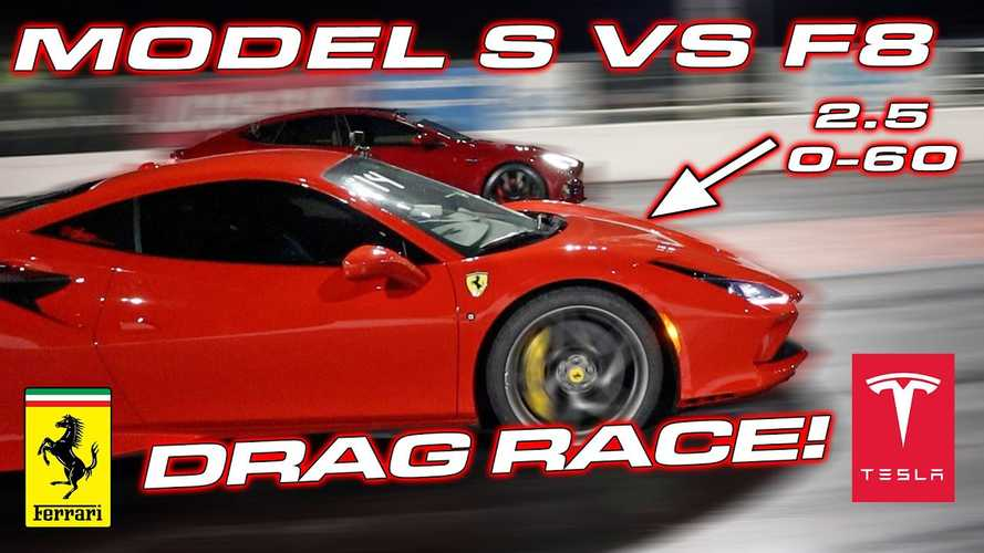Tesla Model S Performance loses to Ferrari F8 Tributo in drag race