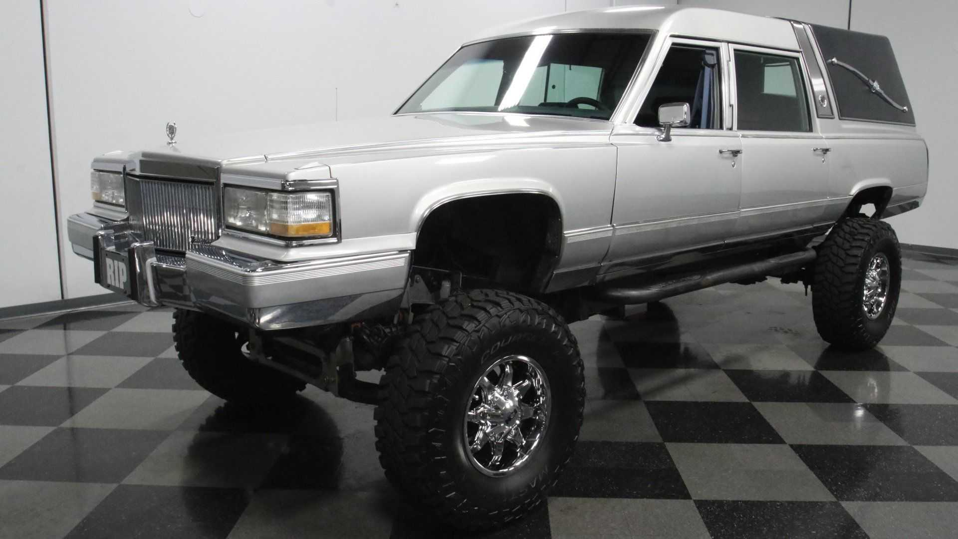 Freaky Cadillac Brougham Hearse Rides High On Chevy Truck Chassis