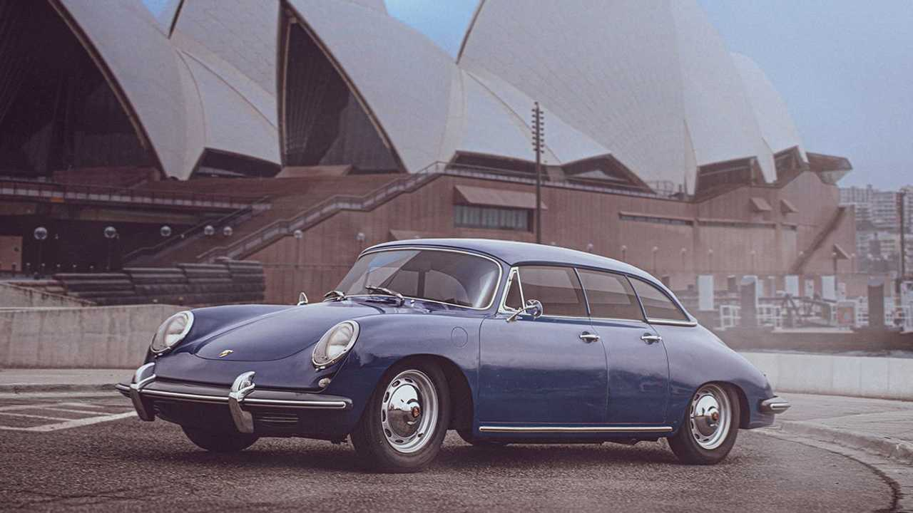 Porsche Taycan if it was designed in the 1960s