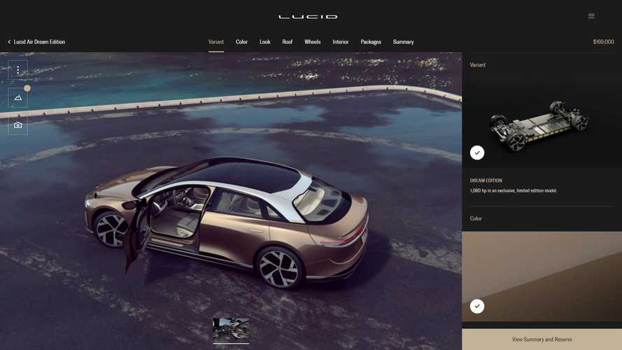 Lucid Air Configurator Does Not Reveal Packages Pricing