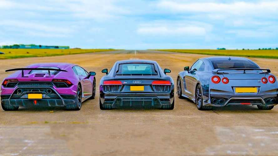 Can a tuned Nissan GT-R win against two V10 supercars in a drag race?