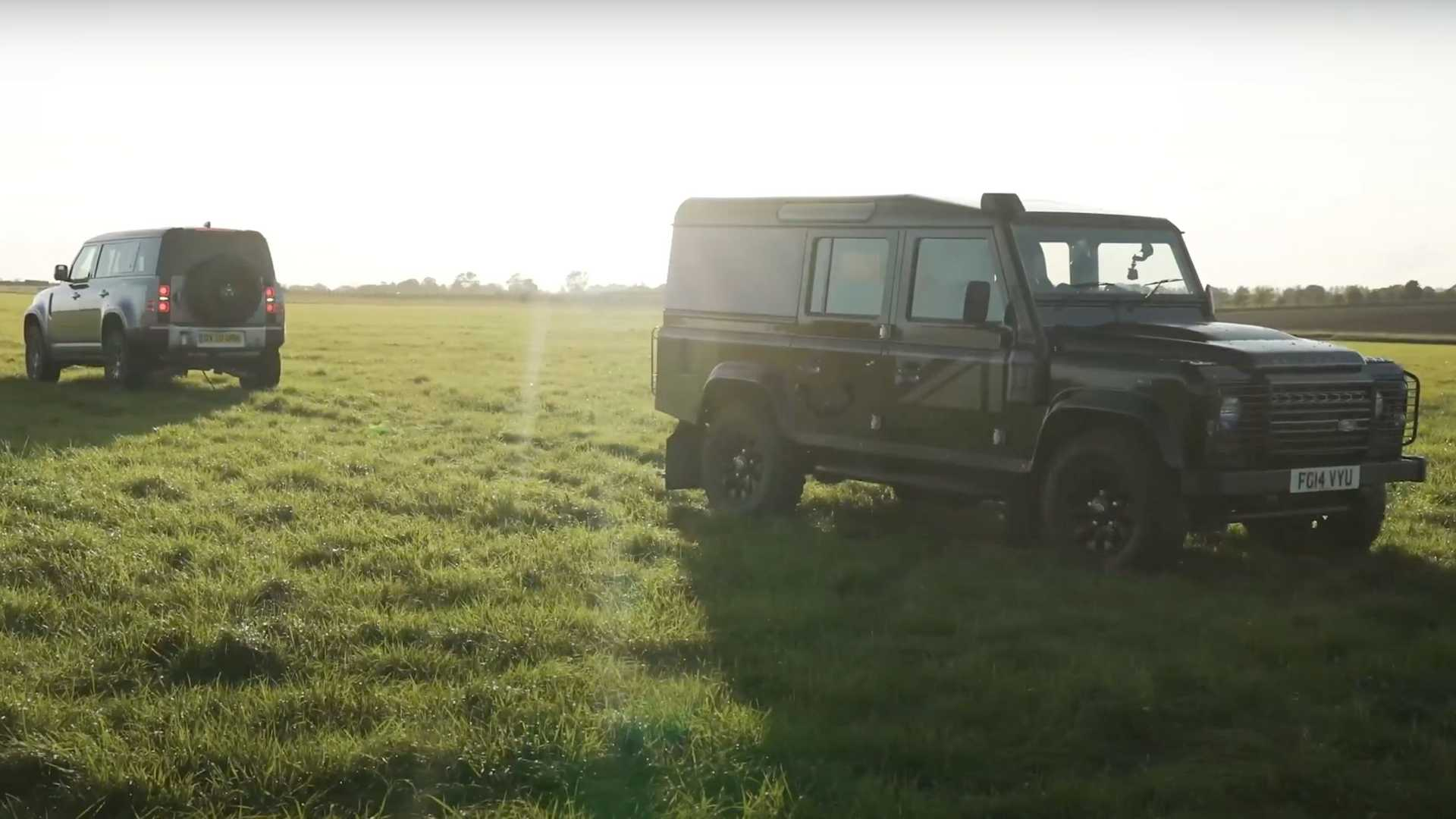 New Land Rover Defender Takes On Old Defender In Tug Of War