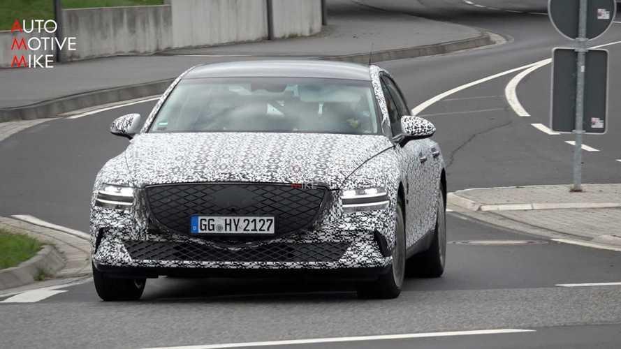 2022 Genesis eG80 Electric Sedan Spotted Silently Testing At The Nurburgring