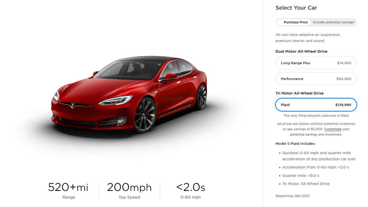 Design Your Tesla Model S Plaid