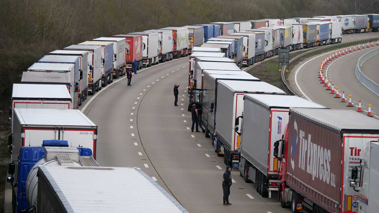 Police conduct Operation Stack on M20 motorway due to delays at Dover Port during Storm Gareth