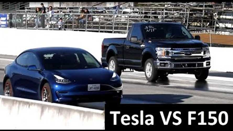 Watch Tuned Ford F-150 Pickup Truck Take On A Tesla Model 3