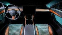 Vilner pimpt Tesla Model 3-Interieur mit Hahnentrittmuster und viel Türkis