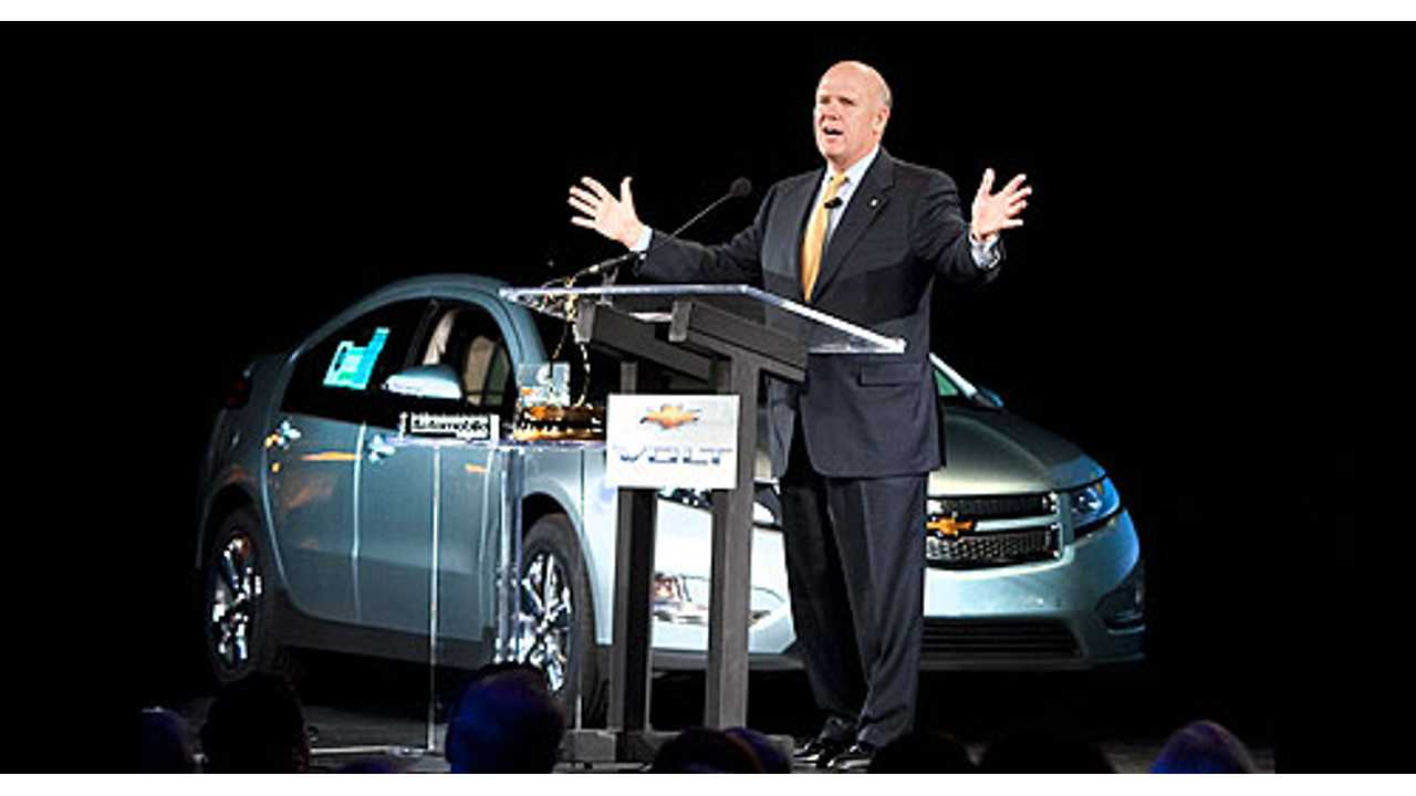 GM CEO Dan Akerson in Front of Chevy Volt
