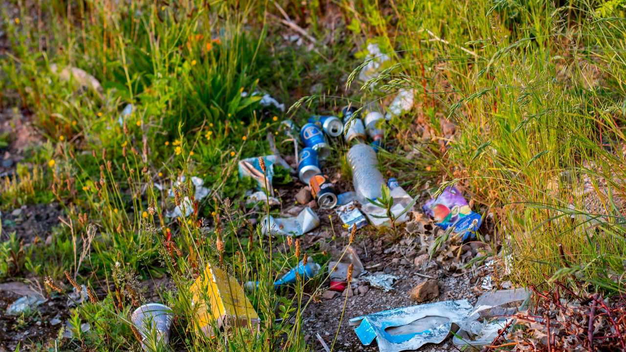 Litter dumped on the ground in Donnington Leicestershire UK
