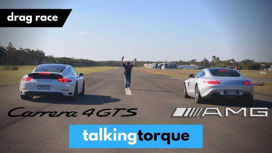 Porsche 911 Carrera 4 GTS ile Mercedes-AMG GT S drag yarışında