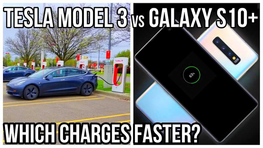 Tesla Model 3 Vs Galaxy S10+: Charging Speed Battle