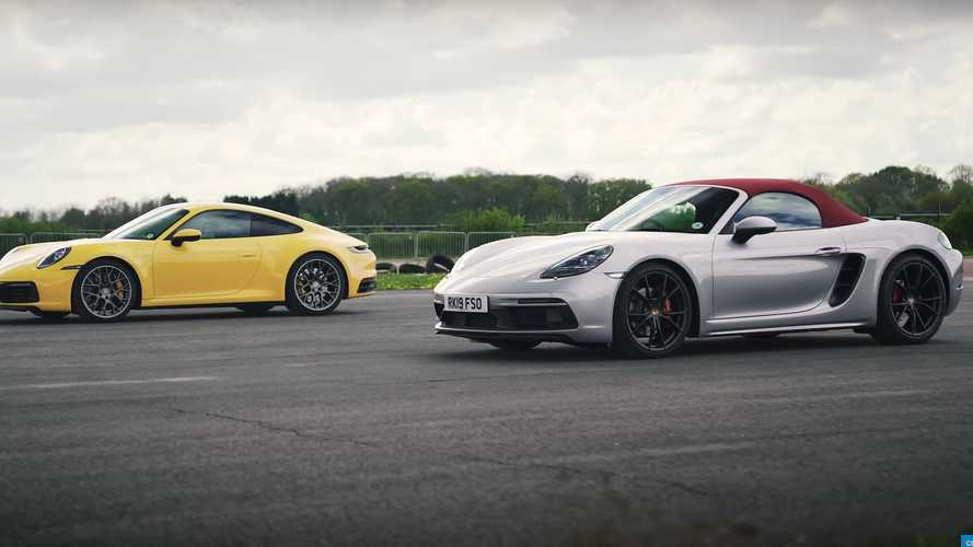 Porsche 911 Carrera 4S vs Boxster GTS fight in uneven drag race