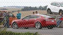Tesla Model S spied testing near Nurburgring.